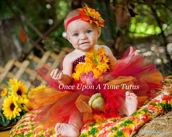 autumn fairy tutu dress infant baby girl leaf leaves photo prop dress up halloween costume girls size newborn 3 6 9 12 18 24 months
