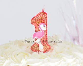 Flamingo Coral Glitter Birthday Candle