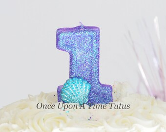 Mermaid Purple Glitter Blue Shell Birthday Candle - Birthday Supplies Photo Prop Sparkly Sparkle Cake Topper Keepsake - Standard Size