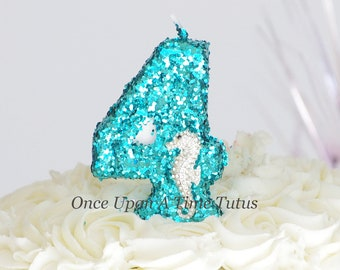 Teal Under The Sea Glitter Seahorse Birthday Candle - Birthday Party Decor Supplies Sparkly Sparkle Cake Topper Keepsake - Standard Size