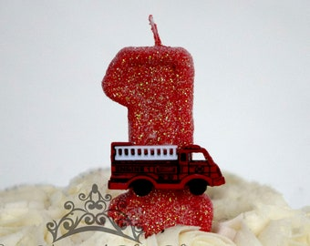 Firetruck Glitter Birthday Candle