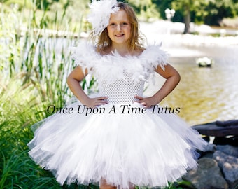 white swan tutu dress little kids girls size newborn 12 months 2t 3t 4t 5 6 7 8 10 birthday party halloween costume feather wings snow owl