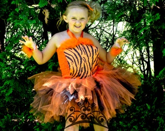 70b3266d6e Wild Tiger Print Tutu Dress - Zoo Animal Halloween Costume - Baby Girl  Newborn 6 12 Months 3T 4T 5 6 7 8 10 12 Childrens Kids Deluxe Outfit