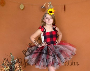 Halloween Costume Theme Deluxe Kids Girls Size 18 12 Months 2T 3T 4T 5 6 7 8 10 12 14 Red Black Ivory Plaid Scarecrow Long Tutu Dress