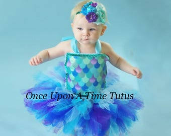 1d718c36bf Mermaid Tutu Dress - Deluxe Birthday Outfit - Fish Narwhal Mermaid Scales  Blue Aqua Purple Print Tutu Girls Size 12 Months 2T 3T 4T 5 6 7 8