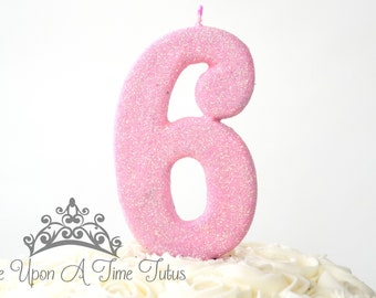 Large Light Pink Glitter Birthday Candle
