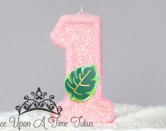 Princess Party Decor One Fuchsia Keepsake Candle Glitter Candle Hot Pink Birthday Candle Sparkly Number Cake Topper Party Supplies