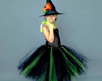 0e8a3fbd7 Black and Green Witch Tutu Dress Long Halloween Costume Kids Little Girls  Childrens Hat Size 6 12 Months 12M 2T 3T 4T 5T 6 7 8 10 12 -