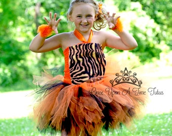 4989883ff Wild Tiger Print Tutu Dress - Zoo Animal Halloween Costume - Baby Girl Newborn  6 12 Months 3T 4T 5 6 7 8 10 12 Childrens Kids Deluxe Outfit
