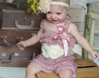 fbb6ad9cd6c8 Vintage Rose Romper Outfit - One Size Fits 6 12 18 Months - Mauve Ivory -  With or Without Ribbon Flower Sash - Fall Autumn Birthday Set