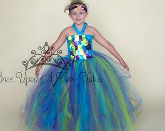 Pastel Mermaid Princess Long Tutu Dress Deluxe Sequin Rainbow Shiny Kids Little Girls Size 12 Months 2T 3T 4T 5 6 7 8 10 12