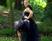 Black Bird Tutu Dress - Scary Creepy Vulture Crow Falcon Halloween Costume - Girls Size 2T 3T 4T 5 6 7 8 10 12 Little Kids Girls Dress Skirt