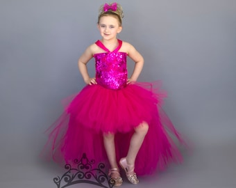 dda0a656 Magenta Pink Sequin High Low Tutu Dress - Deluxe Glamour Sparkly Birthday Outfit  Sparkly Glam Girls Size 12 Months 2T 3T 4T 5 6 7 8 10 12
