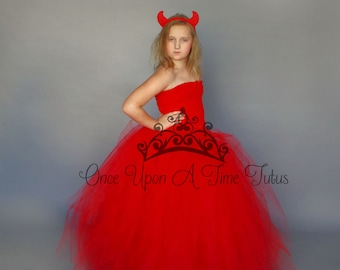 red full length tutu dress devil halloween costume girl long gown baby christmas girls size 6 12 months 2t 3t 4t 5t 6 7 8 10 12