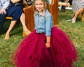 Maroon Long Tutu Skirt - Little Girl Child Size - 12M 2T 3T 4t 5 6 7 8 10 12 Dark Color Winter Autumn Wedding Flower Girl Full Length Tulle