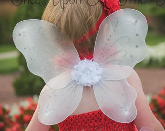6606fa6d6a4fe White Fairy Wings -- Dress Up Birthday Party Favor Accessory - Little Girls  Butterfly Costume Fairy Halloween Costume - Ready To Ship