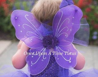 698971ea973 Purple Fairy Wings -- Dress Up or Birthday Party Favor Accessory - Little  Girls Butterfly Costume - Fairy Halloween Costume - Ready To Ship