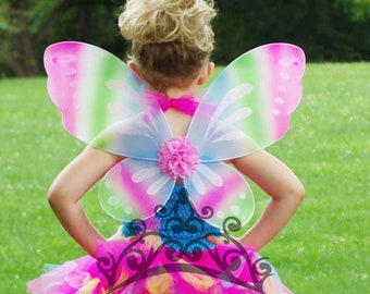 9ca5637128b5e Rainbow Fairy Wings -- Dress Up or Birthday Party Favor Accessory - Little  Girls Butterfly Costume - Fairy Halloween Costume - Ready To Ship