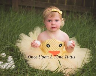 Yellow Duckling Chick Tutu Dress - Newborn 6 12 Months 2T 3T 4 5 6 7 8 Kids Cute Tiny Baby Farm Animal Chicken Halloween Costume Easter Duck