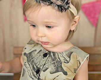 Camo Print Shabby Flower Rose Headband - Army Girl Country Birthday Theme - Newborn  Baby Hairbow - Little Girls Hair Bow Accessory b8cb90c9b62