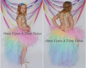 6c7c96ce58ca1 Pastel Rainbow Cloud Bustle Tutu - Pink Unicorn Theme Birthday Halloween  Costume Little Girls Kids Childrens Baby Toddler Teen Adult Ladies