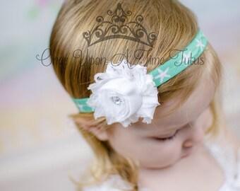 bce7f81ea67 Mint Green Starfish White Shabby Flower Headband - Photo Prop - Newborn  Baby Hairbow - Little Girl Hair Bow - Birthday Beach Mermaid Theme