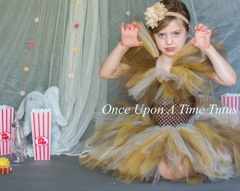 c44d7eed0 Wild Lion Mane Tutu Dress - Newborn 3 6 9 12 18 24 Months 3T 4 5 6  Halloween Birthday, Photo Prop Dress Up Costume Baby Girl - Brown Tan