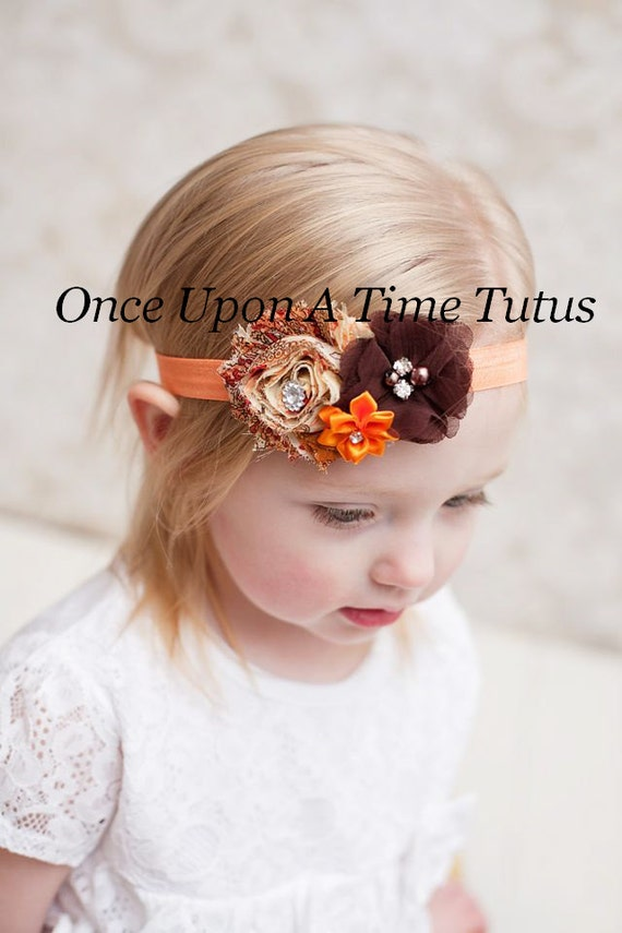 Chocolate Brown Shabby Flower Newborn Headband Baby Girl Fall Autumn Hair Bow