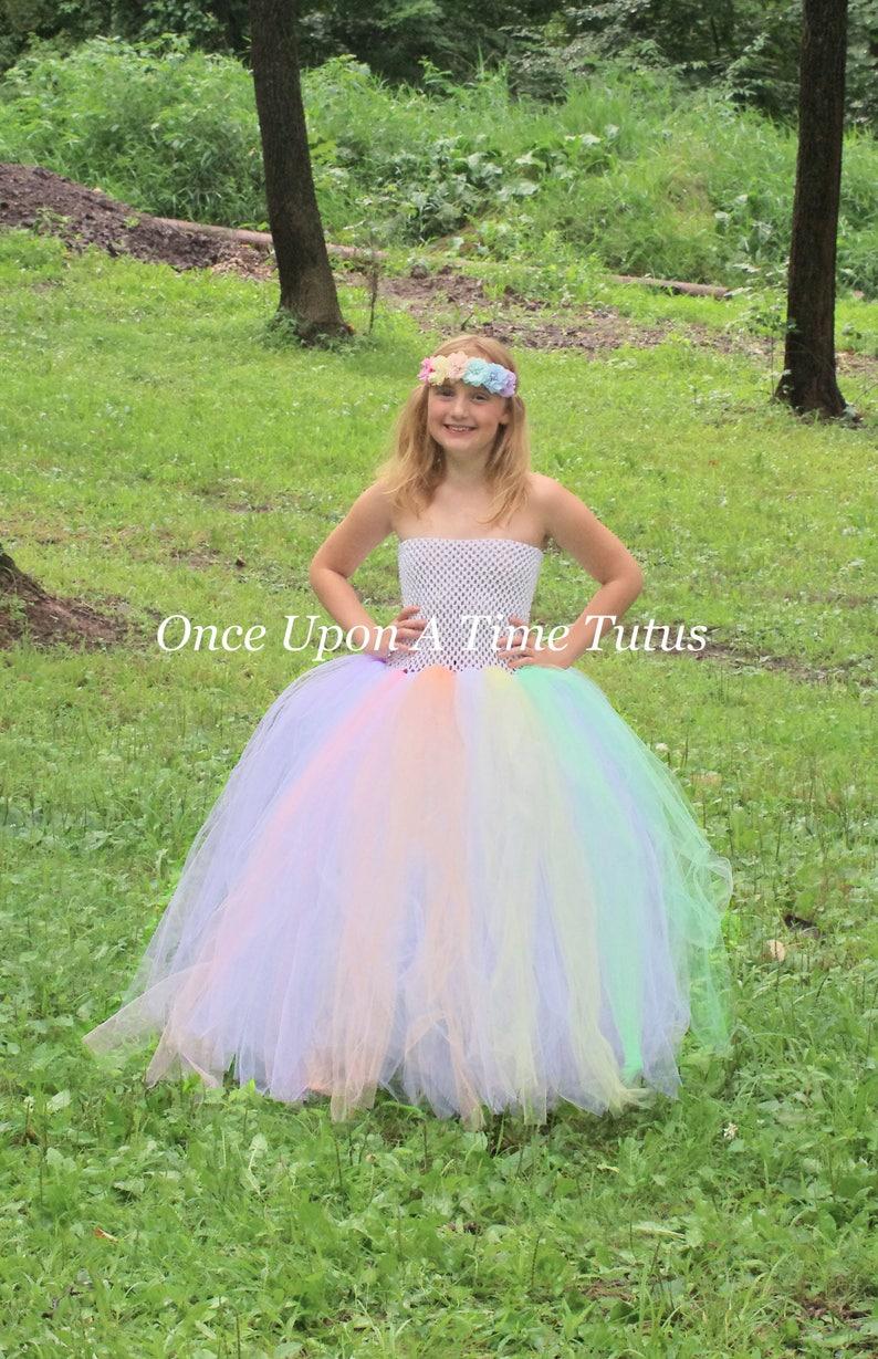 Rainbow Pastel Costume Adult Unicorn Tutu Dress 3 Sizes