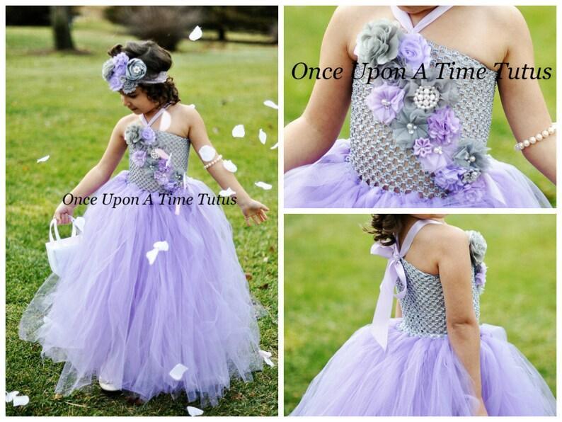 f5e5793449a Lavender Gray Flower Girl Tutu Dress Spring Photo Prop Baby