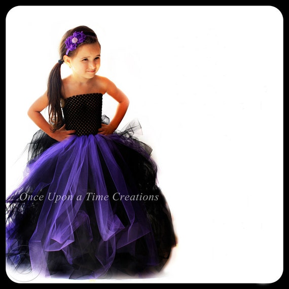 Cinderella Princess Character Dress Child 3t 4t 5 6 7: Full Length Long Witch Tutu Dress Black Purple Little Kids
