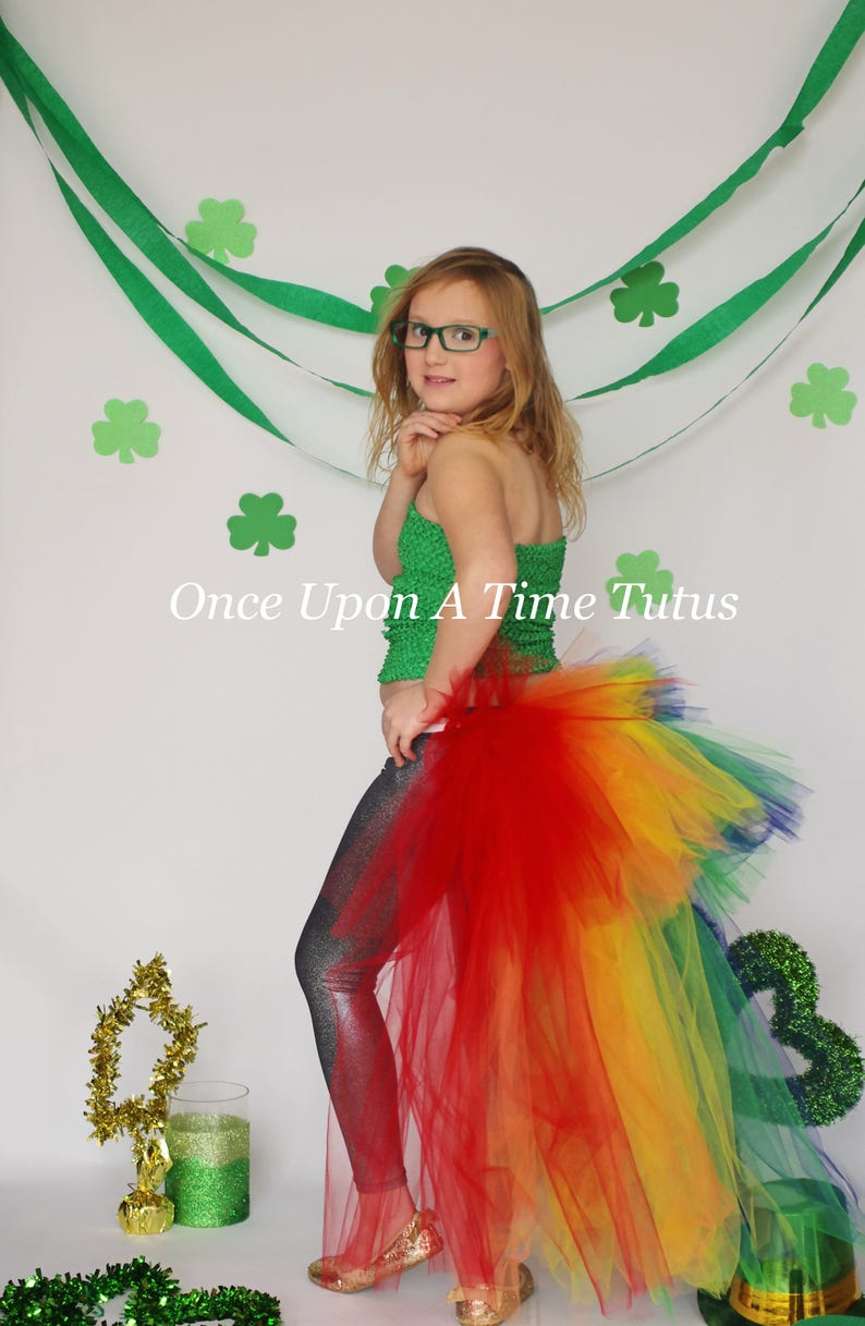 d12893ca8c Colorful Rainbow Bustle Open Front Tutu Skirt Halloween