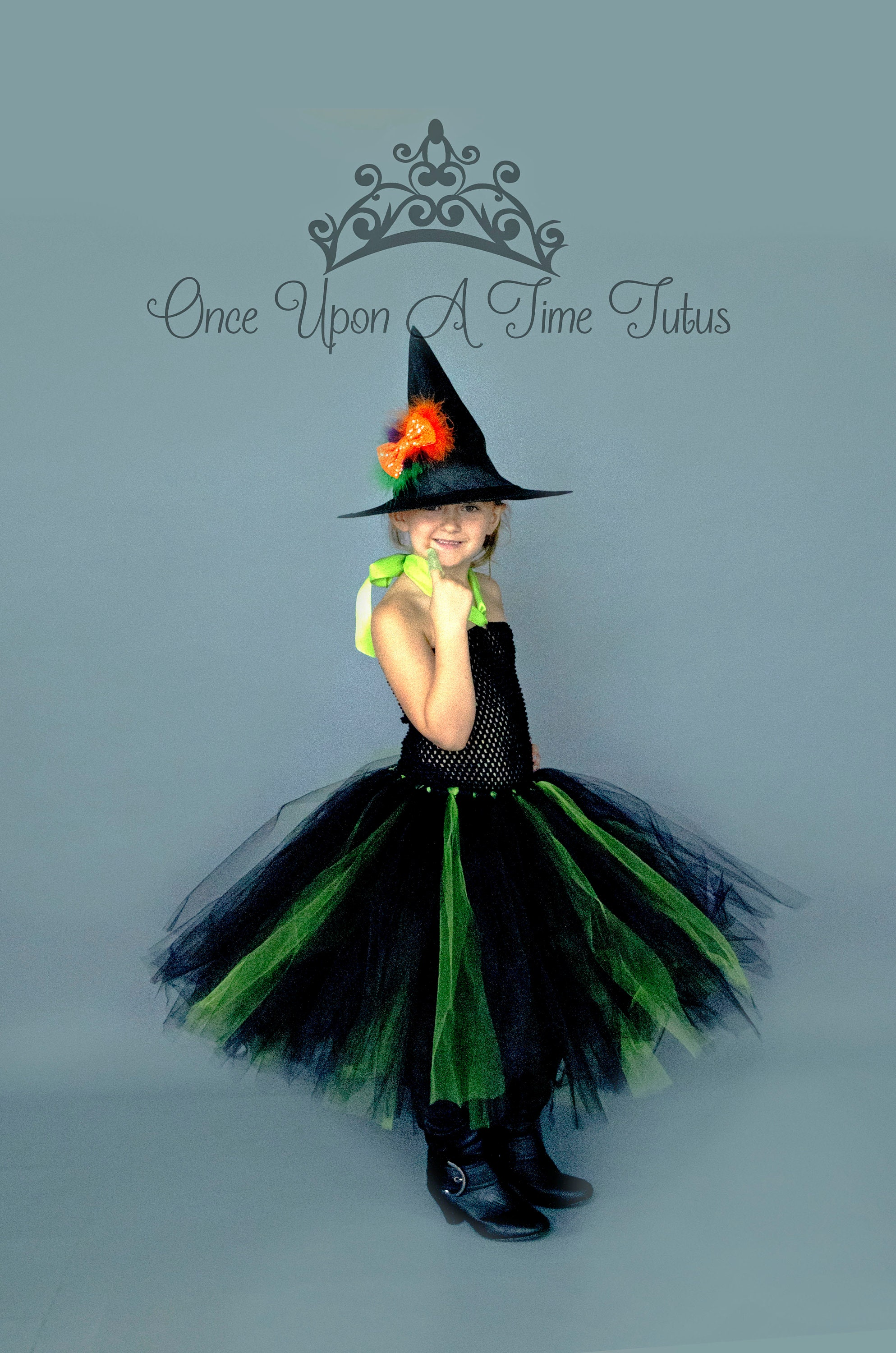 42dc8ae24 Black and Green Witch Tutu Dress Long Halloween Costume Kids | Etsy
