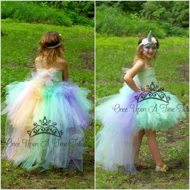 d4c50bfa0444 Pastel Unicorn Bustle Tutu Dress Girls Size 6 12 Months 2T | Etsy