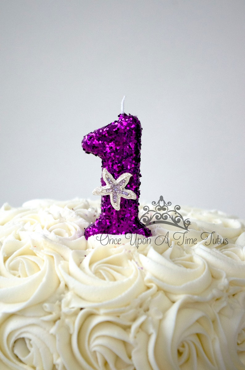 Purple Mermaid Starfish Glitter Birthday Candle Party Decor