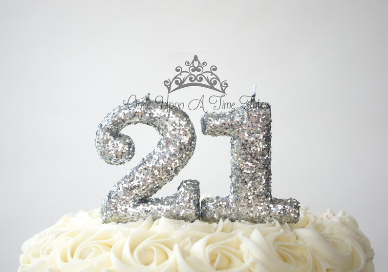 Choose Any Two Numbers Silver Glitter Birthday Candles