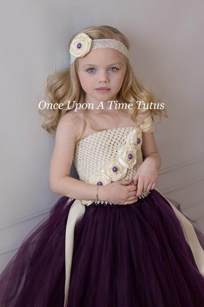 Kids Toddler Baby Girls Size 12 18 Months 2T 3T 4T 5 6 7 8 10 12 Ivory Eggplant Purple Flower Girl Tutu Dress Summer Wedding Couture