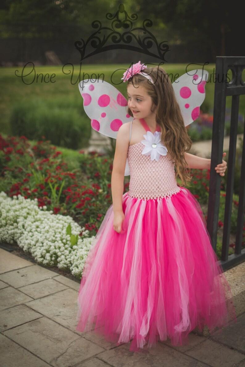 42b1d210a Pink Garden Fairy Tutu Dress Flower Girl Theme Pageant   Etsy