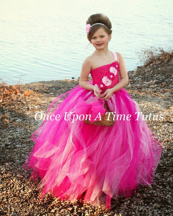 Pink Flower Girl Tutu Dress Spring Photo Prop, Baby Girls Size 12 Months Kids 2T 3T 4T 5 6 7 8 10 12 Fairytale Summer Wedding Couture