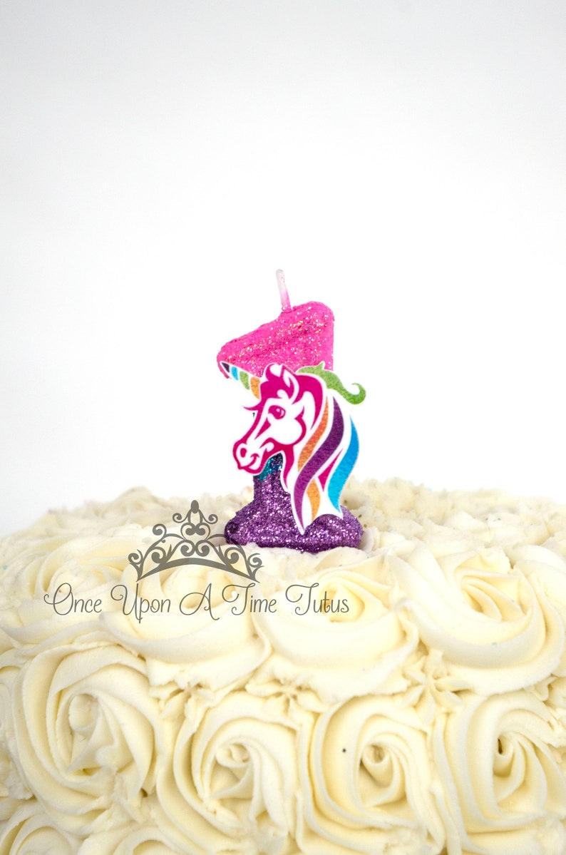 Rainbow Glitter Pink Blue Purple Unicorn Horse Birthday Candle