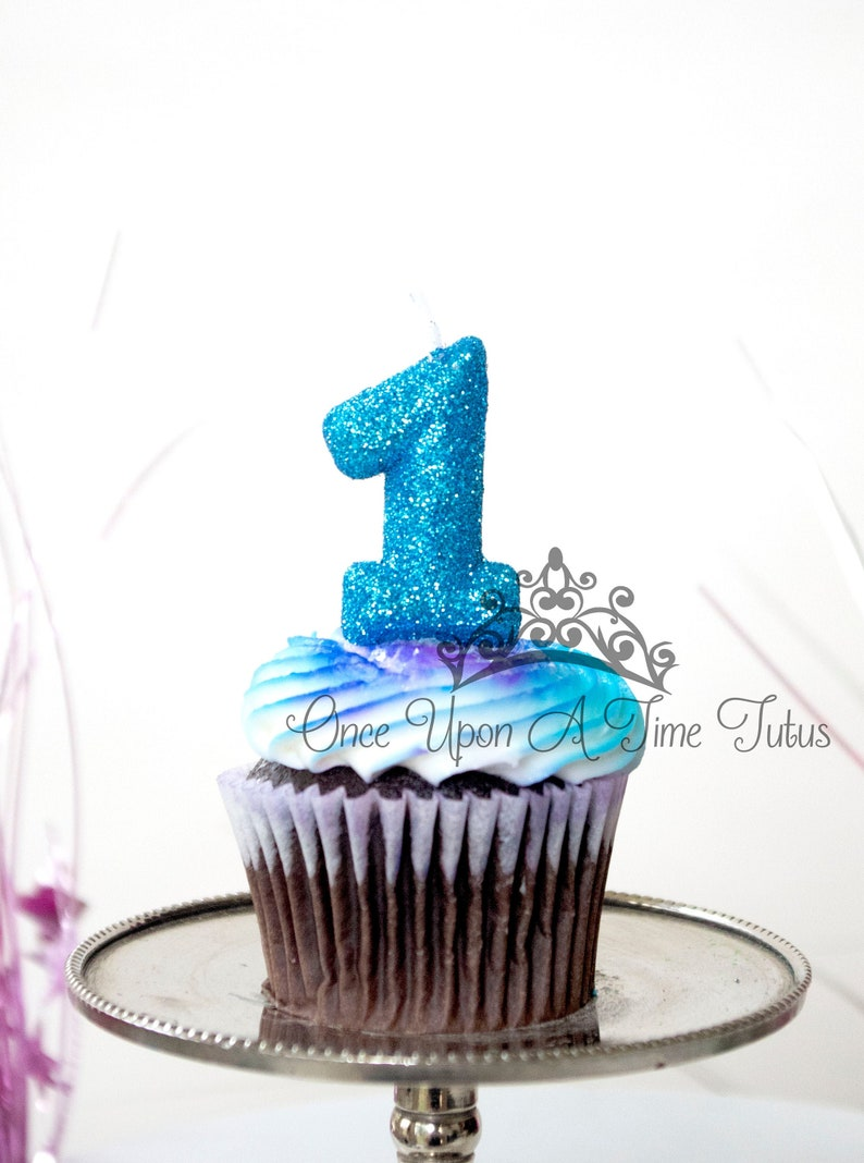 Glitter One Sparkly Number Cake Topper Mini Bright Blue Birthday Candle Keepsake Candle Winter Onederland Party Decor Party Supplies