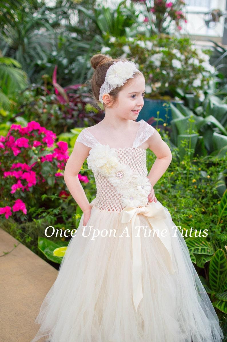 77c415d1f482 Ivory Flower Girl Long Tutu Dress Classic Spring Photo Prop   Etsy