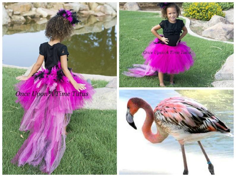 Flamingo Black Hot Pink Feather Bustle Tutu Newborn Toddler Girls Adult Ladies