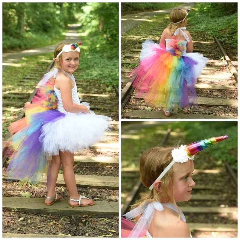 6e61980a9bba Bright Rainbow Unicorn Bustle Tutu Dress Girls Size 12 Months | Etsy