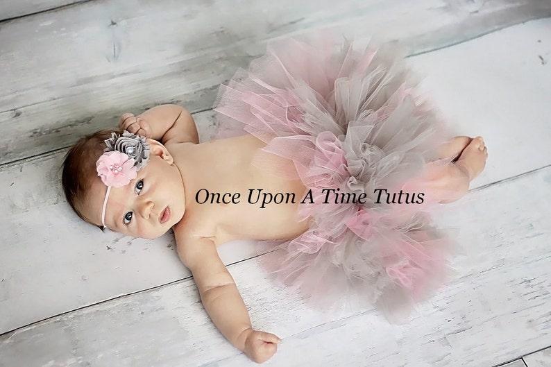1st Birthday Tutu Kid Tutu Pink Grey Tutu First Birthday Tutu Newborn Tutu Baby Tutu Pink Newborn Tutu Set Newborn Photography Prop