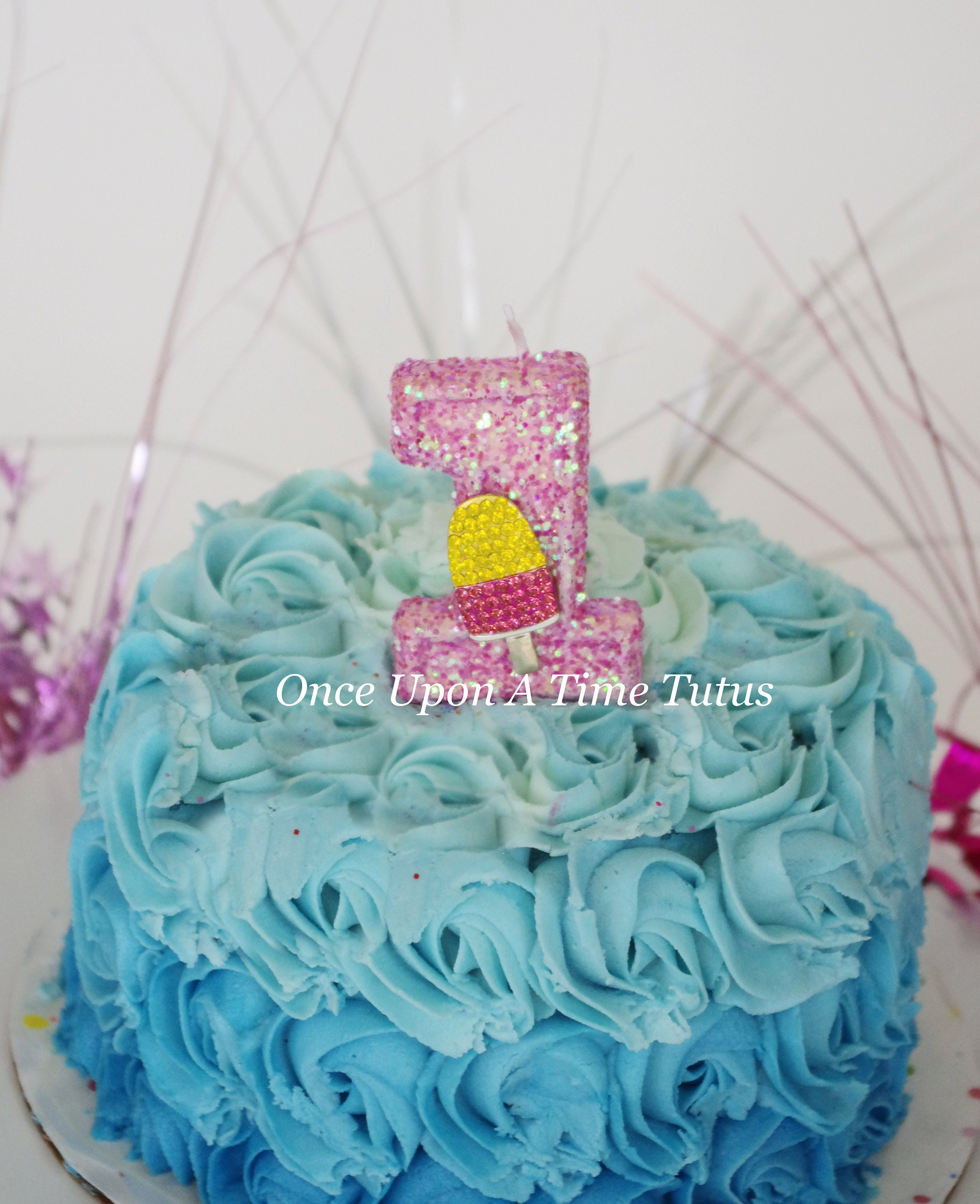 Pink Glitter Birthday Candle Frozen Treats Party