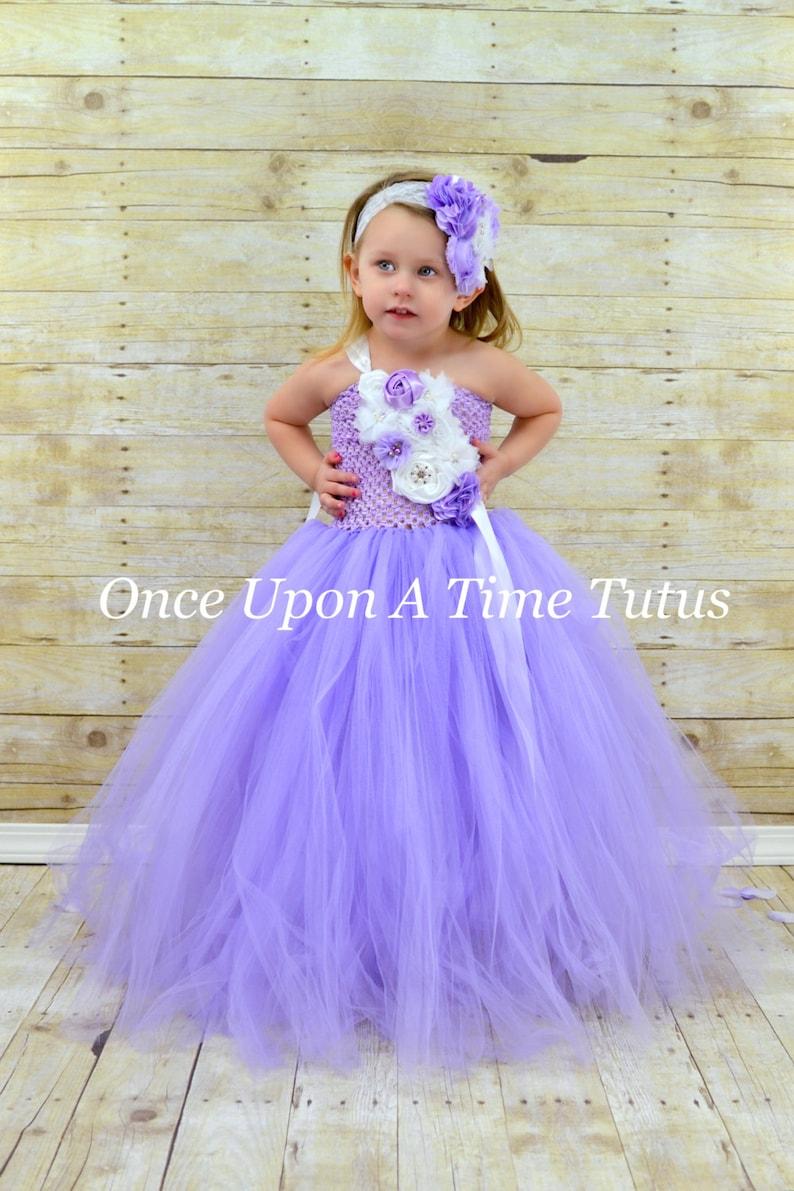 c4669e7707a Lavender White Flower Girl Tutu Dress Spring Photo Prop