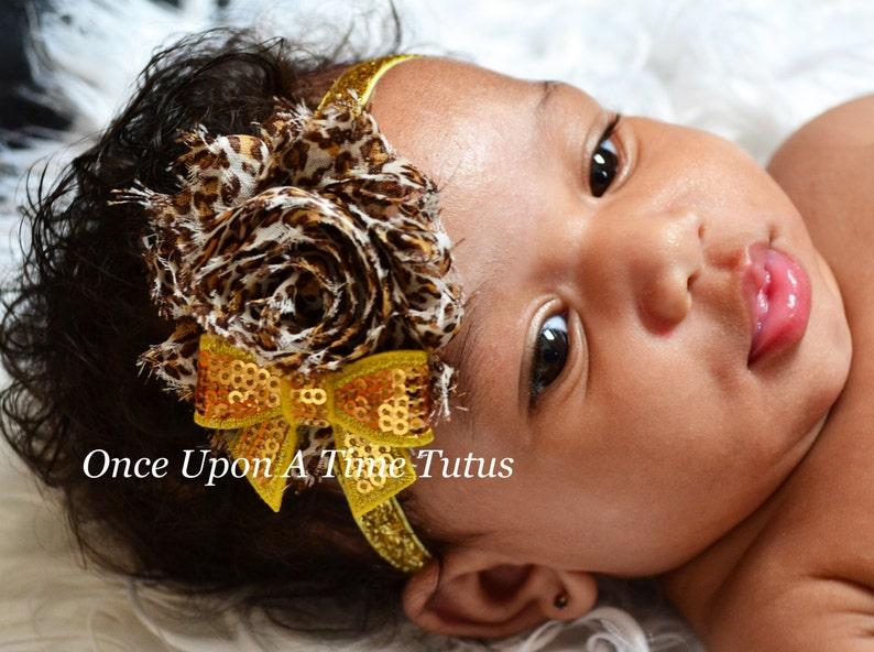 Baby newborn kid infant girls leopard print headband bow