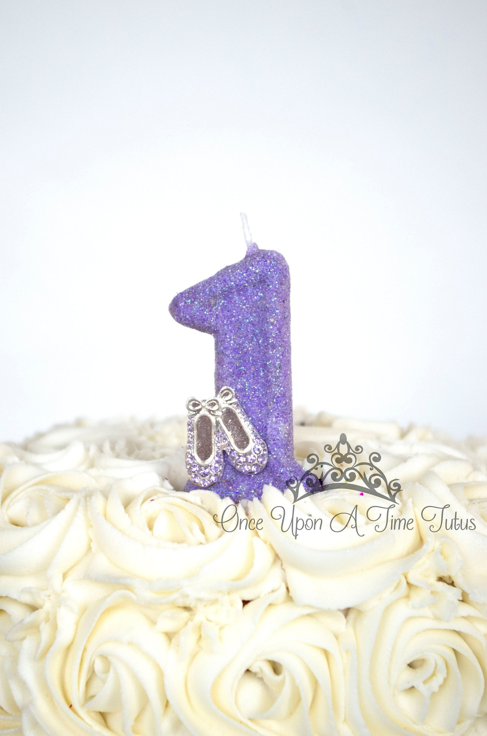 lavender purple ballet glitter birthday candle - ballerina dancer party decor supplies sparkly sparkle cake topper keepsake - st