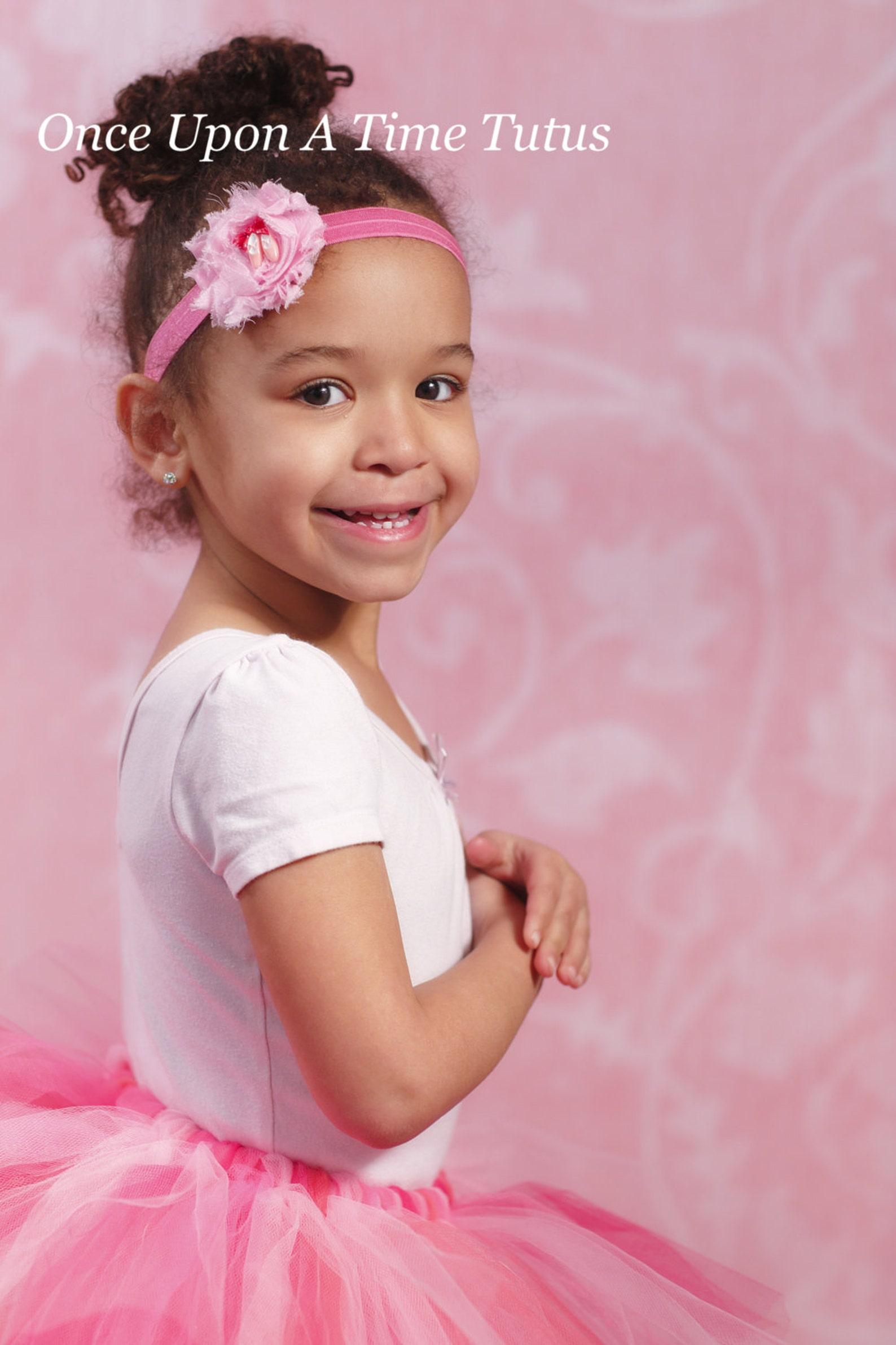 pink ballerina shoes headband - ballet girl ballerina hairbow - newborn baby little girl photo prop - light and hot pink shabby